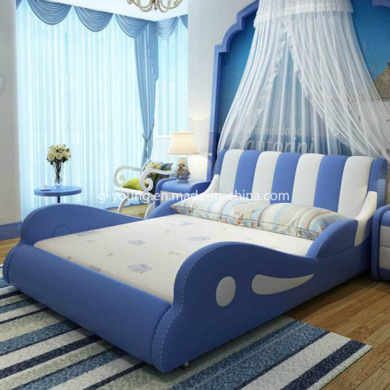 Customized Home Kids Bedroom Furniure Fabric Coated Bed