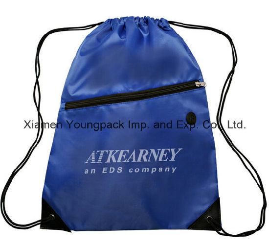 87d4124992 Blue Promotional Custom Waterproof 210d Nylon Gym Sack Drawstring Bag