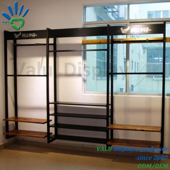 Display Rack Factory Making MDF Metal Display Shelf for Clothing Store