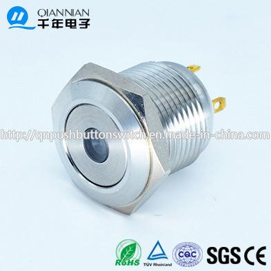 Qn16-D6 16mm DOT Type Momentary Flat Head Bi-Color 12V LED Push Button Switch