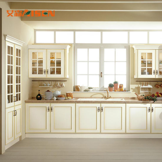 Italian Style Furniture Waterproof Storage Cabinet Luxury Kitchen Island  Solid Wood Kitchen Cabinet