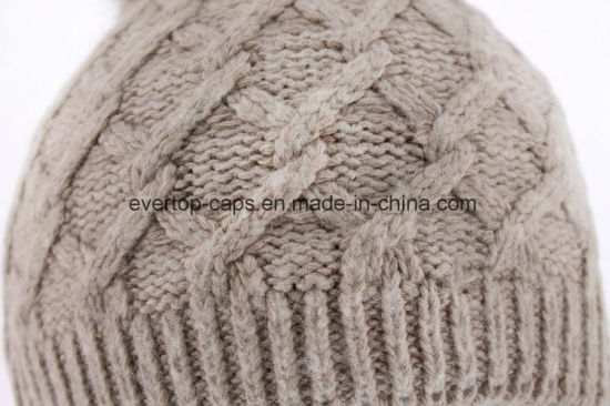 f010a7dc8ac40 China Beige Color Acrylic Knit Beanie Hat with Fake Fur Pompom ...