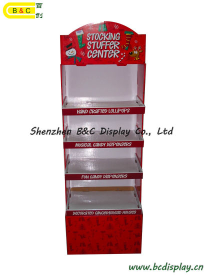 Christmas Cardboard Floor Display Shelves pictures & photos