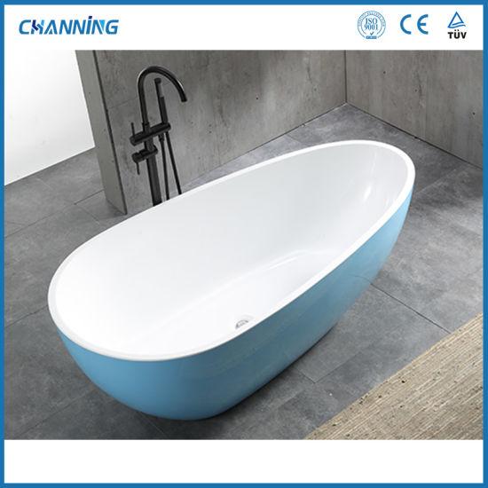 Channing Modern Blue Color Hot Tub High Quality Acrylic Freestanding Tubs Deep Soaking Bathtub (QT-025)