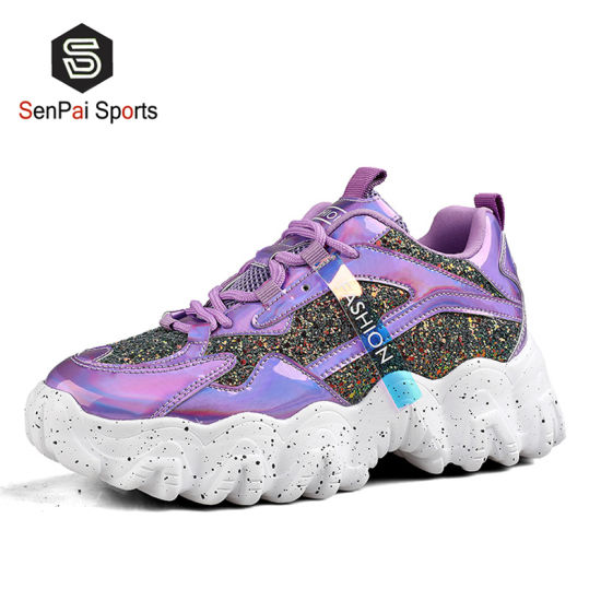 2020 Branded Women Shinny Sneakers Popular Lady Fashion Shoe pictures & photos