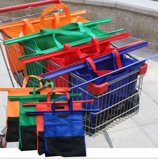 Collapsible Foldable Folding Recylcled Reusable Trolley Shoulder Supermarket Grocery Eco Environment Non Woven with Insulation Foil Shopping Cart Bag
