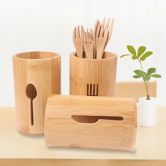 Bamboo Holder Multifunctional Desktop Kitchen Storage Box Set of 3 for Tableware