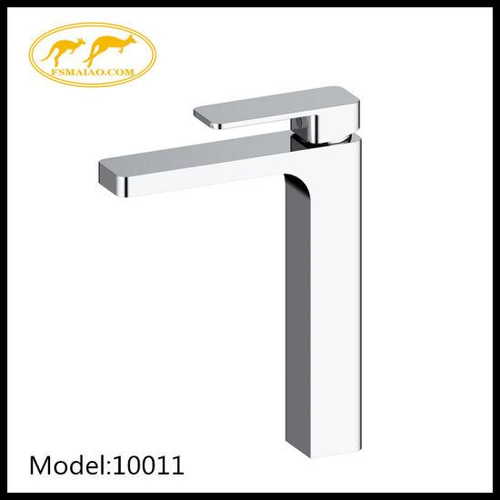 Sanitary Ware Bathroom Brass Square High Basin Faucet Chrome (10011)