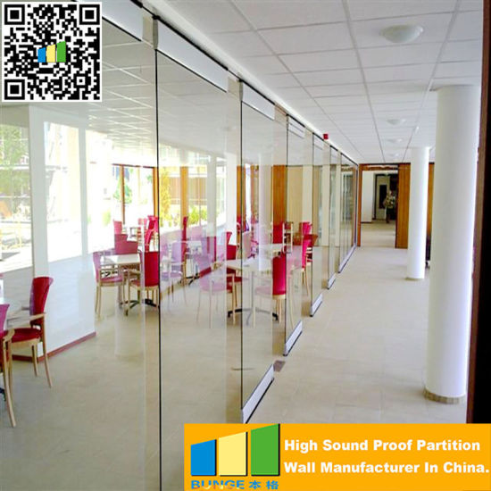 Modern Sliding Folding Aluminium Frame Laminated 12 mm Office Glass Partition Wall with Tempered