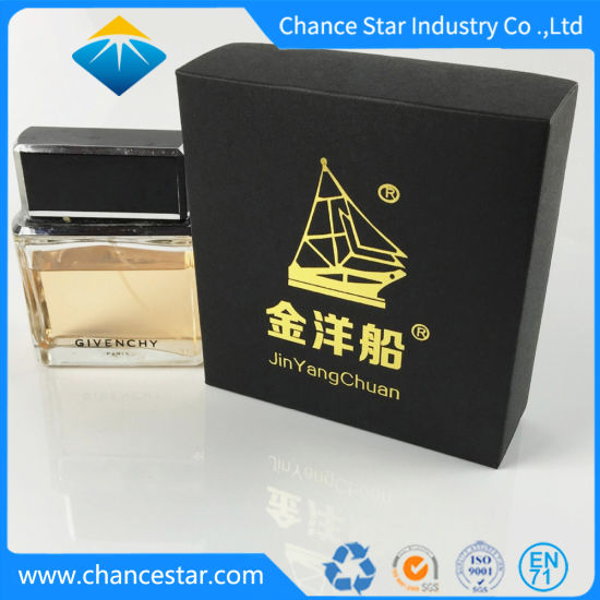 Custom Fold Printed Perfume Gift Packaging Black Paper Boxes