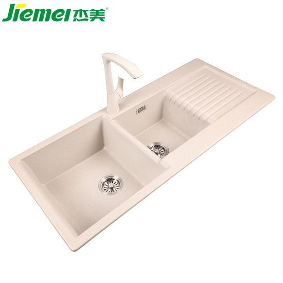 Custom Cheap Oem Black Granite Kitchen Sinks Double Bowl