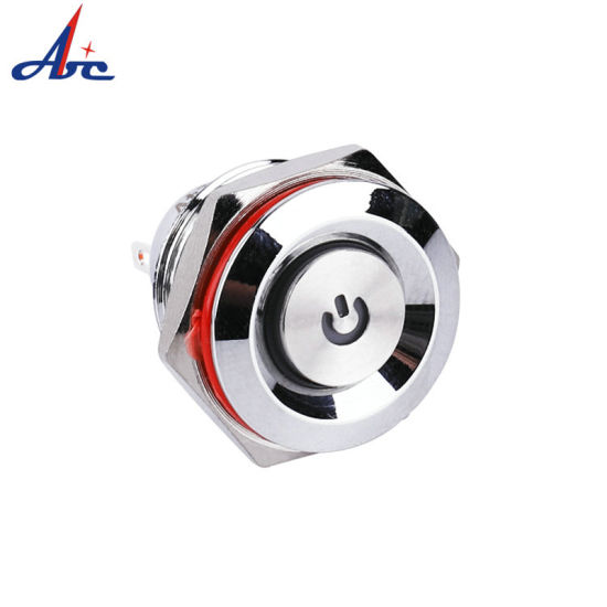 16mm 2pin Momentary 1no Push Button Switch with Power Logo
