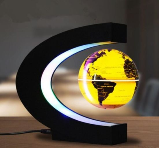 Business Gift Crafts and Home Decor Anti-Gravity Rotating Globe C-Shape LED Magnetic Levitation Floating Luminous World Globe pictures & photos