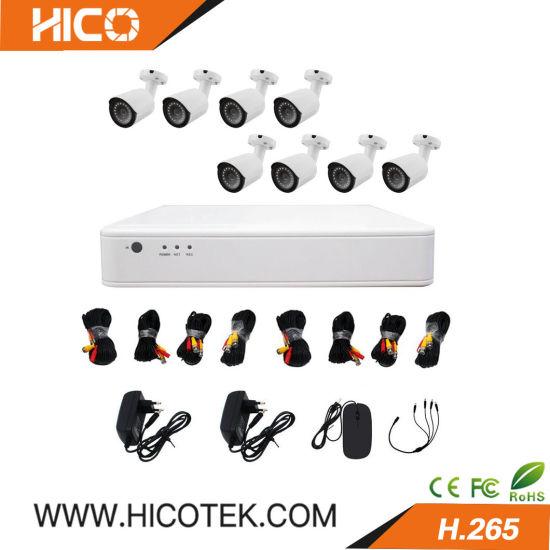 Hico Tech Best 8CH H. 265 Real Time Hybrid DVR 8 PCS 1080P Ahd Tvi Cvi 4-in-1 IR Bullet Dome Cameras Kits