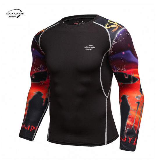 Cody Lundin Men's 3 PCS Running Fitness Clothes Suit Long Sleeve Sublimation Printing Gym Sports Sets Quick Dry Men Suits 3 Pieces