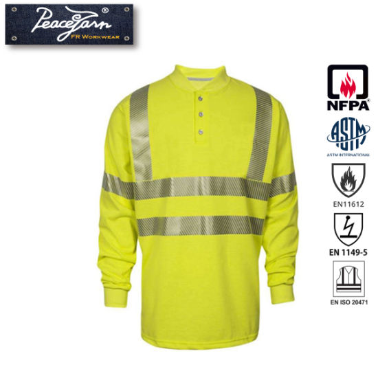 Reflective Safety Henley Shirt with Flame Resistant