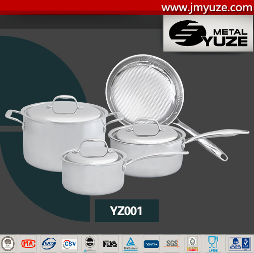 7PCS 3-Ply Stainless Steel Cookware Set with Lid, Kitchen Utensils, Kitchen Tool