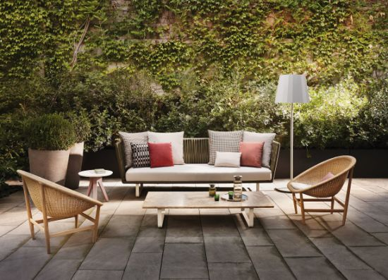 Popular Patio Sofa with Rope Weaving and Waterproof Fabric Seat