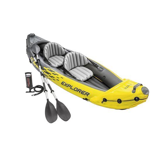 2021 Water Sport Custom Durable PVC Kayak Canoes Foldable Kayak Double Inflatable Pedal Kayak Fishing 2 Person