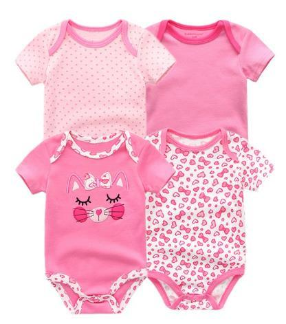 4PCS/Lot Baby Romper Boy Girls Short Sleeves Cute Print Summer Clothing Set Roupa Menina Cotton Newborn Clothes