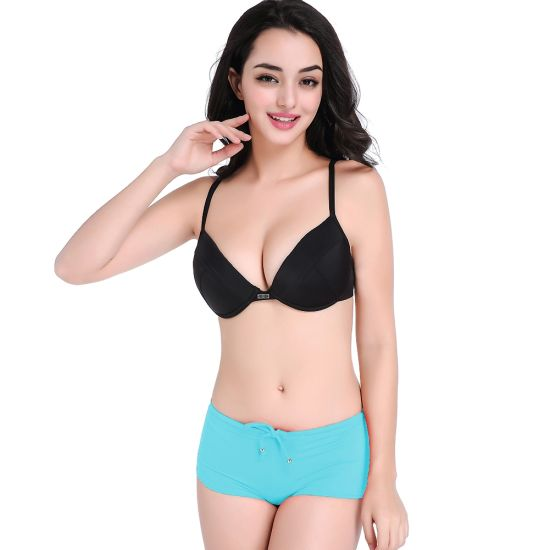 6faa87f17d48 China Hot Sale Black and Lake Blue Boxer Briefs Two-Piece Swimsuit ...