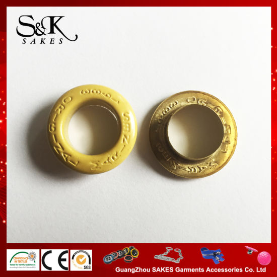 High Quality Dtm Yellow Color Brass Eyelet for Garments