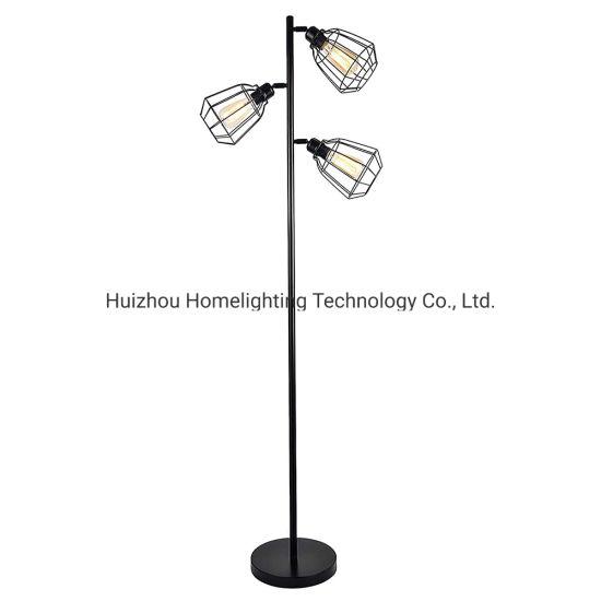 Jlf-431 Industrial Loft Metal Cage Torchiere Floor Standing Lamp 3-Head Chandelier