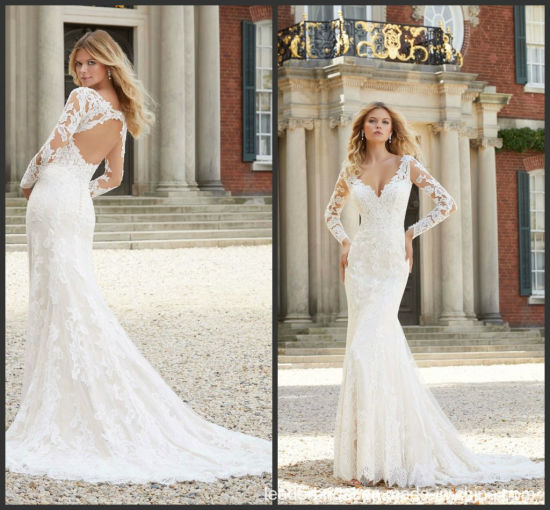 9f4491c97a5ba Long Sleeves Bridal Gown Lace V-Neck Long Sleeves Wedding Dress 2019 M2022  pictures &