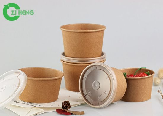 Wholesale Disposable Customized Kraft Paper Bowl for Fruit Salad with Lid