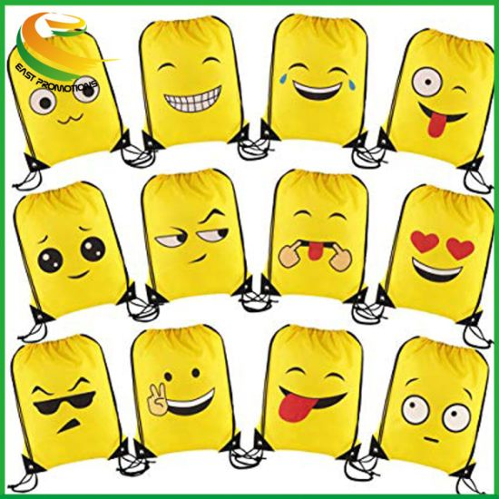 Emoji Drawstring Backpack Party Bags for Kids Girls and Boys, Ideal Party Bag Fillers