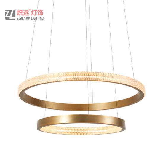 Residences Laundry Gold Circular Ring Aluminum with Acrylic Hotel Pendant Lamp