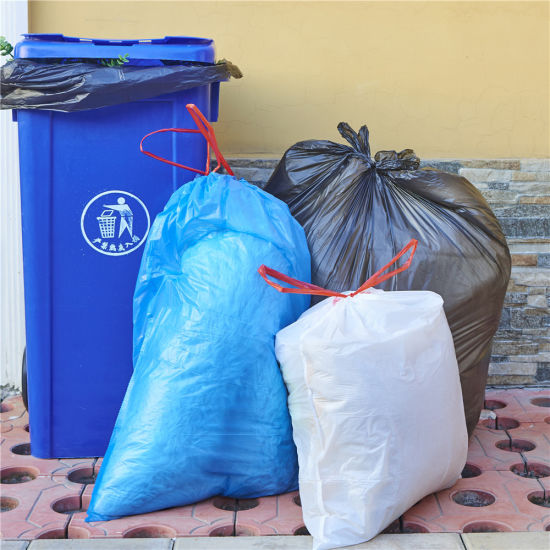 Biodegradable13 Gallon Drawstring Trash Bags pictures & photos