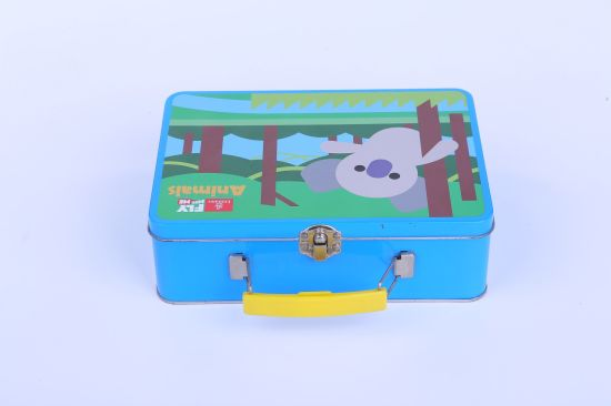 Wholesale Rectangular Metal Food Tin Can Lunch Tin Box with Handle and Lock