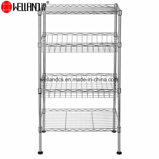 Welland 4 Tiers Small Adjustable Metal Kitchen Storage Rack Wire Basket  Shelf