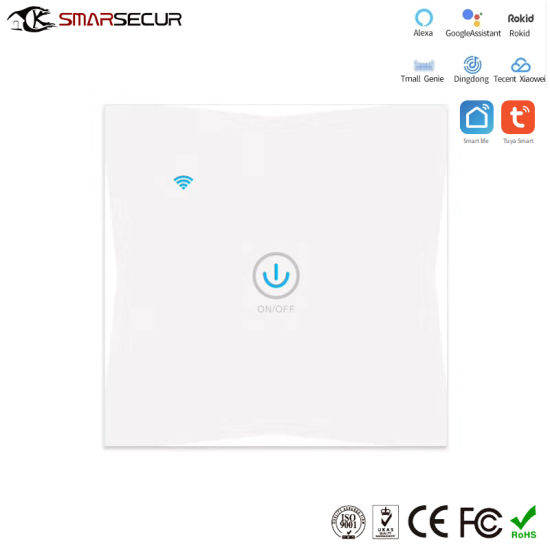 Smarsecur Glass Panel Wall Switch, Smart Electrical Switch, Touch Keypad Electric Switch