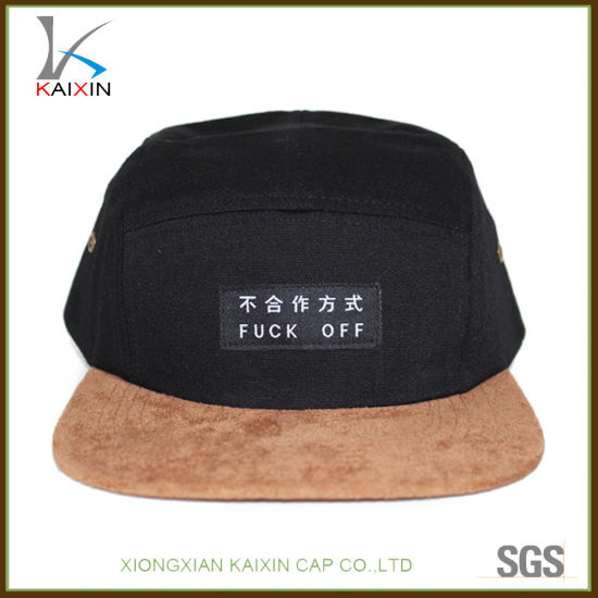 6d9bc10ce1d5e China Custom Suede Brim Black 5 Panel Camper Hat with Leather Strap ...