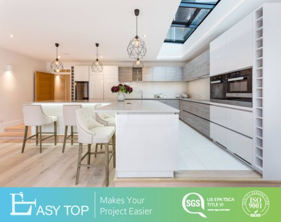 Australia Joinery High Gloss White Lacquer Mixed Wooden MFC Kitchen Cabinets