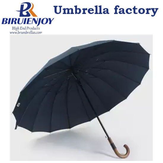 Purchase Big Straight Golf Umbrella Long Wooden Windproof 16 Ribs Business Japanese