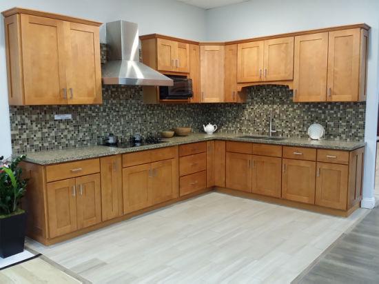 American Standard Cherry Wooden Kitchen Cabinet Soft Closed Hinge Glide