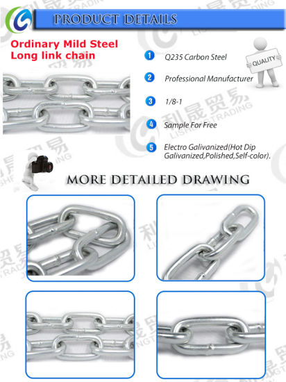 Factory Ordinary Mild Steel Long Link Chain pictures & photos