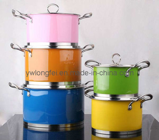 Hot Sale 5 PCS Cookware Multi-Color Stainless Steel FDA Cook Pot Set