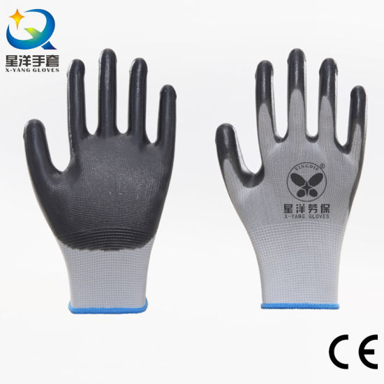 Super Abrasion 13G Polyester Liner with Nitrile Safety Work Gloves with Ce