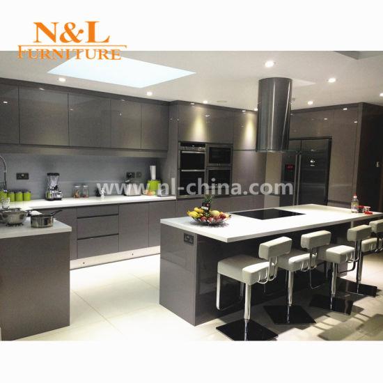 China N L L Shape Kitchen Cabinet With Quartz Stone Countertop