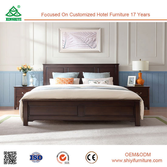 China King Size Wood Double Bed Solid Bedroom Latest Designs Modern Furniture Hotel Design