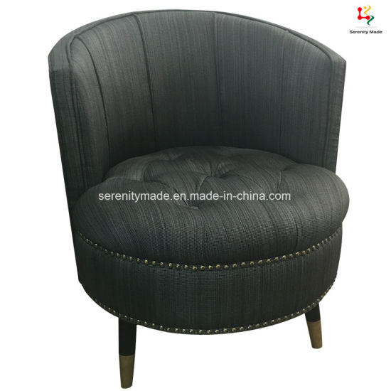 Modern Luxury Classic Velvet Upholstered Fabric Button Tufted Tub Ottoman  Chair With Back