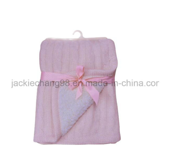 100% Acrylic Cable-Knit Blanket (HR14KB002) pictures & photos