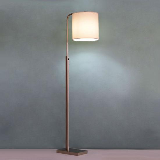 Designer Modern Brushed Nickel Metal and Downwards Fabric Stand Lighting Floor Lamp