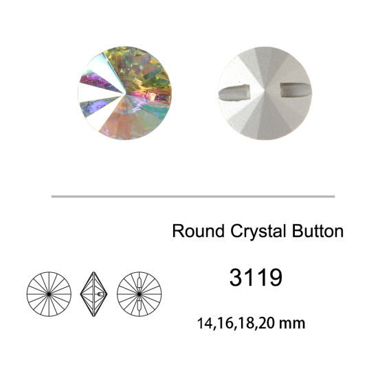 Ab Color Crystal Round Button Garment Accessories