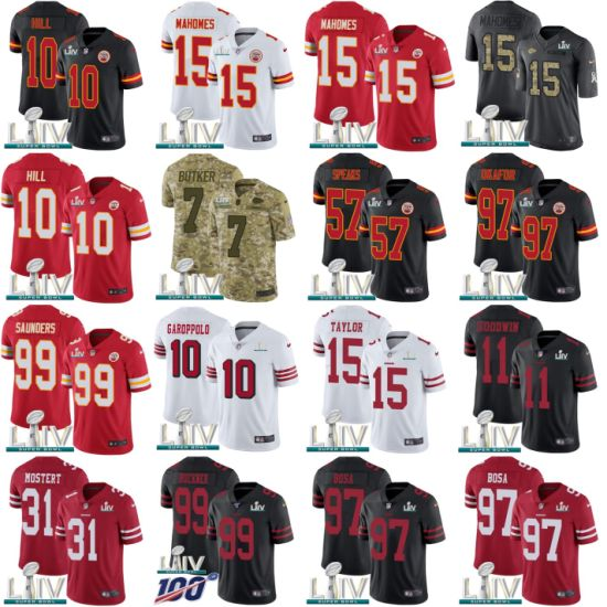 2020 Super Bowl Liv Chiefs 49ers Mahomes Garoppolo Football Jerseys