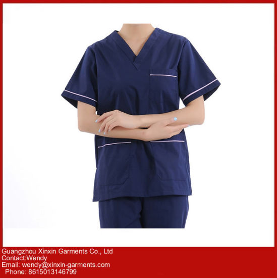 China Manufacture V Neck Nurse Uniforms Medical Scrubs Design (H26) pictures & photos